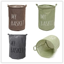 hamper clothes basket Promo Codes - Household Storage Baskets Simple Three Colors My Basket Foldable Easy To Clean Washing Hamper Factory Direct Sale 14zy B