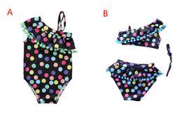 Traje de baño de dos piezas sin tirantes online-2 Estilos Baby Dot de una pieza y Bikinis traje de baño Kids Strapless borla de cuello de la hoja de Lotus traje de baño Boutique niñas Bikinis niños de dos piezas