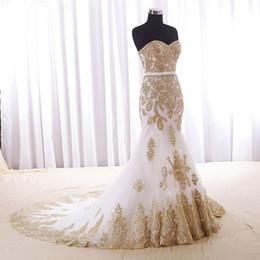 eba7947590e Lange abendkleider 2018 meerjungfrau stil schatz gold spitze arabisch  afrikanische weiß frauen formale abendkleider benutzerdefinierte plus size  prom dress
