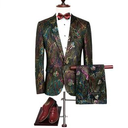 peacock flying Promo Codes - Men's Peacock Pattern Wedding Suits Colorful Slim Sequin Suits Blazer And Pants New Fashion Luxury Wedding Party