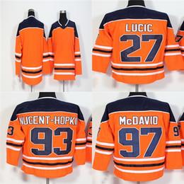 2018 New Brand Womens Kids Edmonton Oilers 27 Milan Lucic 93 Ryan  Nugent-Hopkins 97 Connor McDavid Orange Stitched Logos Ice Hockey Jerseys 0007cc9c5