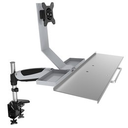 "Зажим для экрана онлайн-DL-JF07 Ergonomic aluminum grommet table clamp full motion 13-27"" screen lcd tv stand monitor desktop support bracket rotate"