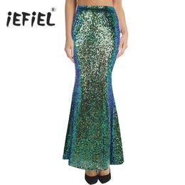 123841b40 Discount women shiny skirts - Women Ladies Fashion Long Maxi Shiny Sequin  Mermaid Skirt Slim Fit