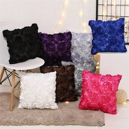 Wholesale Fancy Cover - 40*40cm Fancy 3D Rose Flower Pillow Case Unique Design Super Soft Cushion Cover Multicolor Slippery Fabric Pillowcase For Sofa Decor 6gr Z