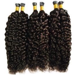 2020 extensiones de cabello rizado keratina enlace Mongol afro Kinky Curly Hair Keratin Stick Tip Extensiones de cabello 300 g Puntas de extensión de cabello precintado I Tip Fusión humana extensiones de cabello rizado keratina enlace baratos