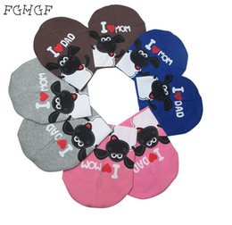 Wholesale I Love Football - 2018 fashion winter baby hats knitted warm cotton toddler beanie baby girl boy I LOVE PAPA MAMA print kids cap for 1-3 years old