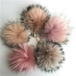 "Wholesale Cartoon Fox Girl - 15cm 6"" Real Genuine Fox Fur Pom Pom Ball Bag charm Car phone Keychain holiday gift"