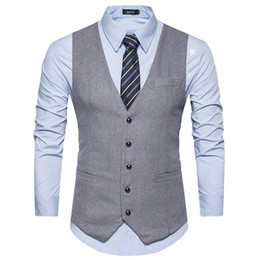 Wholesale Men Dress Vests Grey - YuWaiJiaRen Casual Striped Men's Vest White Black Gray Dress Suit Vest Men Classic male Slim Fit Formal Business Waistcoat Man