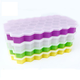 Wholesale yogurt makers - 37 Holes Hexagon Ice Mold with lids Silicone Yogurt Ice Box Freezer Ice Cream Tools Cube Mold Tray