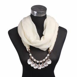 2019 encantos cuadrados de tela Venta caliente Perlas Shell Bufanda Redonda Joyería de Metal Cuello Colgante Hijab Collar Abrigo Color Sólido Noble Grace Lady Popular 11 8gf dd