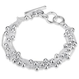2019 сделать браслеты из бисера Горячие продажи стерлингового серебра 925 звено цепи бисером пряди Шарм браслеты ювелирные изделия делая для женщин и мужчин подарок бесплатно shippingLKNSPCH101 дешево сделать браслеты из бисера