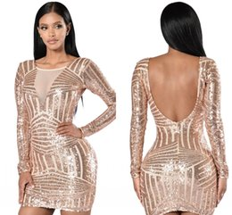 Wholesale Sequined Fishtail Prom Dress - Sparkly Blush Sequins Mermaid Evening Dresses 2018 Modest in Stcok Keyhole Back short Fishtail Women Fashion Party Prom Dress
