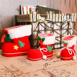 christmas gift boot Coupons - Christmas Boots Flocking Boots Socks Gift Box of Candy Christmas Decorations Home Pen Holder Christmas Tree Decorations