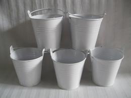 Wholesale metal planter boxes - D7.5XH7.5CM (D3inch*H3inch) Flowerpots Planter Iron buckets Wedding box Iron pots metal decorative Pails White Color