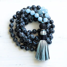 Mala necklace on-line-108 Mala Beads Colar De Floco De Neve Aquamarine Mala Colares Japa Mala Contas De Oração Borla Colar Ioga Jóias Colares Atados