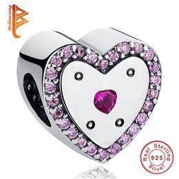 2149e7eca pandora zirconia beads Coupons - BELAWANG For Women 925 Sterling Silver  Beads Heart Charm With Cubic