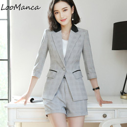 2ea430544b2d Professional set women skirt suit 2018 Spring Summer temperament Formal Office  Lady blazer with skirt plus size work wear