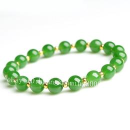 Jade bangles china on-line-Pretty 8mm Natural Verde Jade Jadeite Rodada Beads Trecho Pulseira Pulseira 7.5 ''