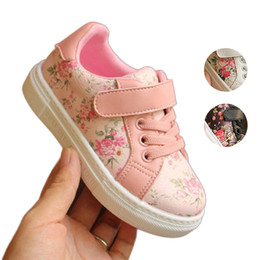 Wholesale infants gifts - Baby Girls Floral Sneakers Infant Toddler Casual Shoes PU Leather Rubber Outsole Walking Shoes First Walkers Birthday Gifts