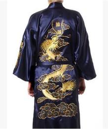 2020 koreanische roben 1pcs / lot gibt Verschiffen Mann der koreanischen Art beiläufigen Sommer Satin-Druck-Pyjama Robe männliche chinesische Männer Satin Seide Drachen Robe günstig koreanische roben