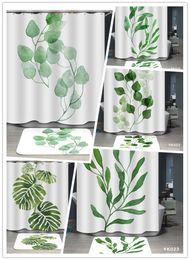 Wholesale Plant Bathroom - Green Plant Waterproof Shower Curtain Digital Printing 6 Styles Leaf Home Bathroom Curtains 180*180cm Polyester Fabric Bath Curtain
