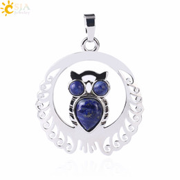 silver jade for men Promo Codes - CSJA Natural Stone Necklace Pendant Owl Bird Animal Hollow Silver Cabochon Charms Pendants Trendy Jewelry for Women Men Birthday Gift F470 A