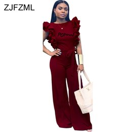 7598fd8fe628 Backless Letter Printed Sexy Rompers Womens Jumpsuit Double Side Ruffles  Sleeveless One Piece Overall Casual Wide Leg Bodysuits