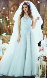 Vestido de noiva applique gelo on-line-Applique Longo Sem Mangas De Tule Vestidos De Noiva De Gelo Azul