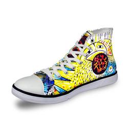 Wholesale Hand Painted Flat Shoes - wholesale High top canvas women sneakers vintage vulcanized flat shoes ladies hand painted cartoon 3D print girls footwear