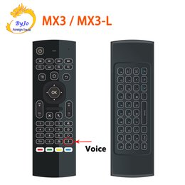 Wholesale Keyboard Mouse Universal Remote Control - MX3 MX3-L Air Fly Mouse 2.4GHz Wireless Keyboard Remote Control Somatosensory IR Learning Mic for Android TV Box