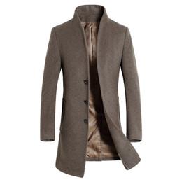Ropa de lana británica online-2018 Otoño Invierno estilo británico hombres lana gabardina hombres Marca Ropa Turn-down Collar Wool Blend Pecho Pecho Abrigo