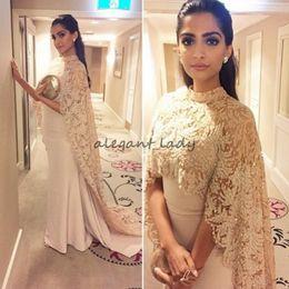 Sonam kapoor robes de soirée en Ligne-2018 Nouveau Sonam Kapoor Robes De Soirée Porter Avec Long Wrap Appliques Élégant Arabe Dubai Kaftan Indien Prom Partie Célébrité Robes Robes