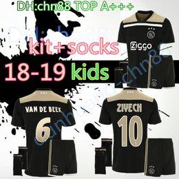 Wholesale Baby Kids Socks - Thai quality 2018 2019 Ajax FC kids kits+socks soccer jersey 18 19 KLAASSEN FISCHEA BAZOER MILIK uniforms shirt baby Ajax FC Football jersey