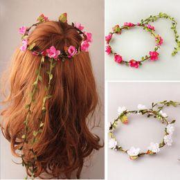 Wholesale Wedding Hair Accessories For Children - MOQ:10PCS Women or Children Hairbands Cloth Sakura With Green Leaves Headband Hair Accessories For Bride Beach Wedding Headdress
