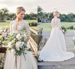 Wholesale Long Train Dresses - Modest 3 4 Long Sleeve Tulle Wedding Dresses Open Back Vintage Lace Pearls Chapel Train V-Neck 2018 Country Garden Bobo Bridal Wedding Gowns