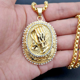 Wholesale gold encrusted - The European and American creative section of the religious hei titanium jewelry gold-plated and diamond-encrusted with a prayer necklace
