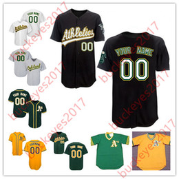 Wholesale Base Number - Custom Oakland Mens Womens Youth White Gold Gray Green Stitched Any Name Any Number Personalized Cool Base Baseball Jerseys S-4XL