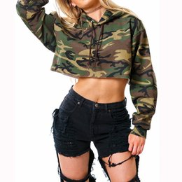 Tarnung online-Frauen Hoodies Sweatshirts 2018 Herbst beiläufige lose Mode Camouflage Print Crop Tops Sexy Kapuzen Long Sleeve Short Pullover