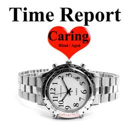 f5eb639dee7 Relatório de Voz do Tempo Falando Relógio de Aço Para O Velho Homem  Envelhecido Relógios Cegos Ringtones Relógio de Alarme