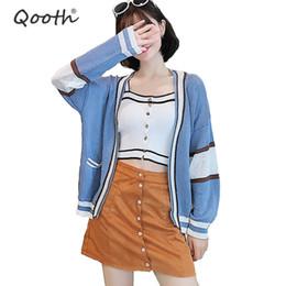 Qooth ulzzang Mädchen Lässige Strickjacke 2018 Herbst Koreanische Frauen Lose Patchwork Pullover Blau Mantel Langarm Jacke QH1499 von Fabrikanten