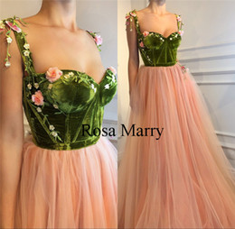 Wholesale Engagement Dresses Custom Made - Blush Pink 3D Floral Long Prom Dresses 2018 A Line Velvet Vintage Lace Plus Size Cheap Girls Pageant Engagement Arabic Evening Party Gowns