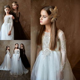 pentelei dresses Coupons - Pentelei 2019 Cute Flower Girl Dresses Applique Long Sleeves Jewel Floor Length Ball Gown Birthday Kids Communion Dress