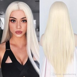 Cheap Silky Straight Top Quality White 60# Synthetic Lace Front Wig Heat Resistant Long Hair Light Blonde 0809# For Black Women cosplay Wig Deals