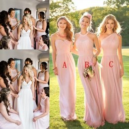 Wholesale Cheap Wedding Gowns Blue - Country Wedding Bridesmaid Dresses Chiffon A Line Blush Pink Mixed Styles Wedding Guest Dress Plus Size Maid of Honor Gowns Cheap