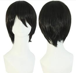"Peruca de homens de cabelo curto preto on-line-Homens peruca curta 10 ""preto cabelo liso Resistente Ao Calor Perucas Sintéticas Masculinas Fibra De Alta Temperatura Peruca Falsa"