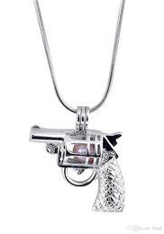 Encantos de jóias com pistola on-line-New Design Gun Gaiola Pingente, Forma de Pistola Pérola Gotas de Contas Medalhão Pingente de Montagem, Jóias DIY Encantos Acessório P70