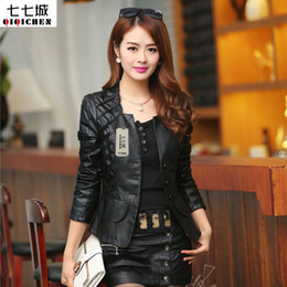 Wholesale Leather Summer Jacket - 2017 Chaquetas De Cuero Mujer Spring Summer Jacket Women Fashion Motorcycle Leather Womens Slim Bicycle Ladies Zipper Coat