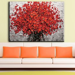 marcos para cuadros de flores Rebajas Flor abstracta pinturas al óleo sobre lienzo cama moderna sala de estar flor arte de la pared fotos decoración para el hogar sin marco