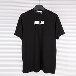 Wholesale T Shirts For Men Lycra - European New Pattern Trend Major I FEEL LOVE Letter Printing Mercerizing Cotton Round Neck T Pity Men And Women Star tshirts for mens shirts