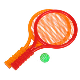 tennis rackets wholesale Promo Codes - Children Play Game Orange Red Plastic Tennis Badminton Racket Toy Set
